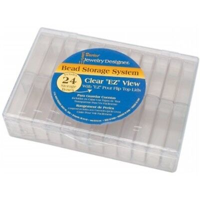 Darice 6-1/4-inch By 4-1/2-inch By 1-7/16-inch Bead Container With 24 Flip Top