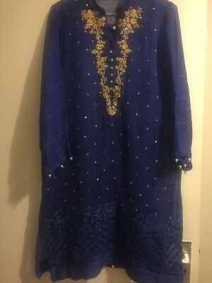Agha Noor Kameez, Royal blue Size Small. With Gold Work.