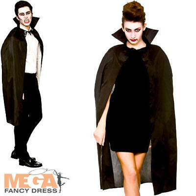 Black Cape with Collar Mens Ladies Fancy Dress Halloween Vampire Adults Costume
