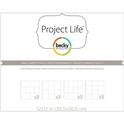 American Crafts Project Life Variety Photo Pocket Pages, Plastic, Transparent,