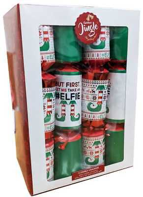 "Box Of 12 Christmas Crackers 12"" Assorted Designs Includes Joke Hat Novelty Gift"