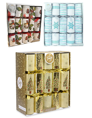 "Box Of 10 Large 14"" Christmas Crackers Assorted Designs Luxury Gift Dinner Party"