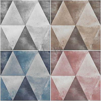 Muriva Caden Metallic Geometric Triangles Wallpaper - Silver Pink Blue Taupe