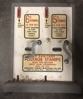 Vintage Postage Stamp Machine Co NY Vending Machine 6 Cents/ 5 Cents 1960's
