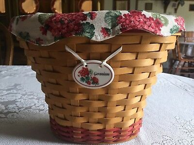 Longaberger, 2002 Geranium Basket, with Liner, Protector, and Tie-On
