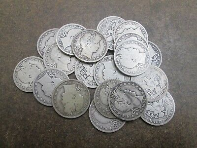 20 Mixed Dates Barber Silver Half Dollars in Good Condition No Reserve