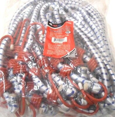 """Bungee Cord Heavy Duty 12 Pc. Set 36"""" Inch (3 Ft.) Red Tip Tie Down Strap"""