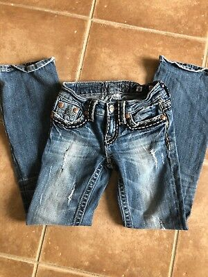 Girls Miss Me Irene Boot Cut Faded Distressed Jeans Sz 8