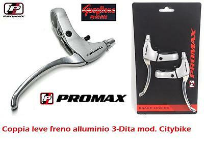 Coppia Leve Freno Promax Alluminio Silver 3-Dita Per Bici 24/26/28 Single Speed