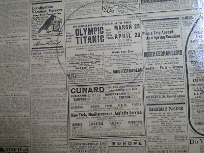Titanic Sailing Ad Newspaper 1912 ST.LOUIS NP + OLYMPICS WORLDS LARGEST SHIP