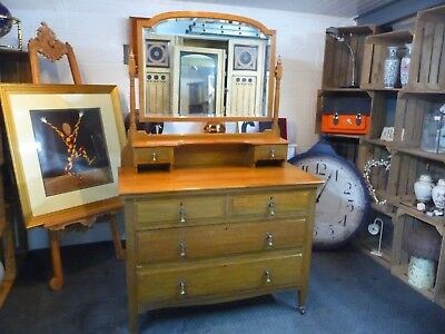 Antique Victorian Dressing Table / Chest of Drawers Arts and Crafts Art Nouveau