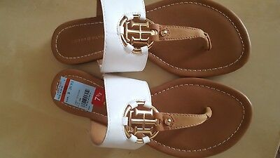 Tommy Hilfiger - Size 7.5 - White/brown Man Material Flats (New W/out Box)