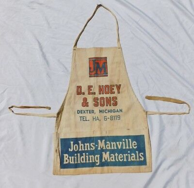 Vintage Lumber Apron Johns Manville Building Materials Dexter Michigan Hoey Sons