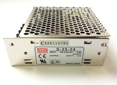 MW Mean Well S-25-24 Power Supply, Input: 100-240VAC 0.6A, Output: 24VDC 1.1A