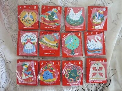 Set 12 Days of Christmas Avon Gift Collection Metal Ornaments Mint