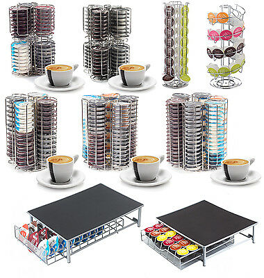 Revolving Coffee Pod Holder Capsule Stand compatible with Tassimo or Dolce Gusto