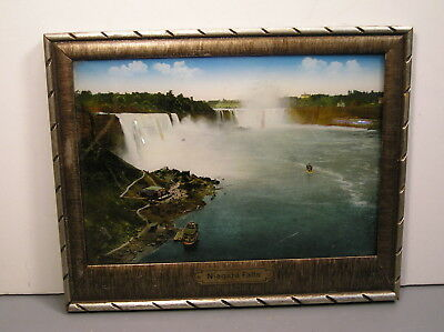 Niagara Falls Convex Picture Mother Of Pearl Made In Germany Antique Vintage Old