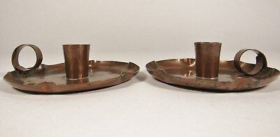 Arts & Crafts FWG Hand Hammered Stovepipe Copper Candlestick PAIR