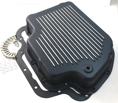 SHALLOW Black Finned Aluminum TH-400 TH400 Turbo 400 Transmission Pan Chevy