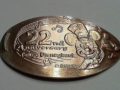DISNEYLAND TOKYO JAPAN 22ND ANNIVERSARY MICKEY-Elongated / Pressed Penny T-352