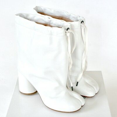 3bc1db9a8b8 MAISON MARTIN MARGIELA split toe white leather high heel shoes tabi boots  39 NEW