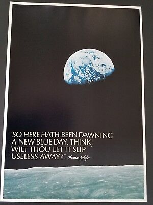 ORIGINAL 1960s EARTH RISE FROM THE MOON SPACE POSTER LUNA LUNAR NASA VINTAGE 60s