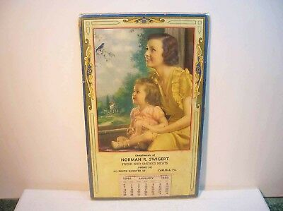 Compliments of Norman Swigert Fresh and Smoked Meats Carlisle Pa 1940 Calendar