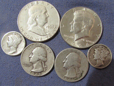 Lot 6 Us Silver Coins 1964 Kennedy Half Dollar 1963 Franklin Half Dollar Etc