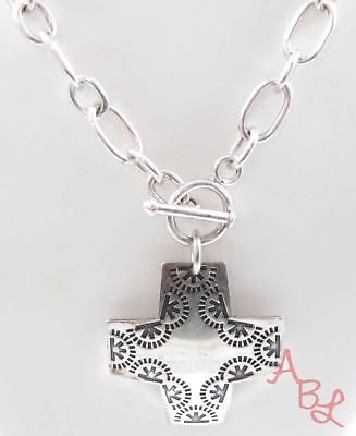 "Silpada Sterling Silver Vintage 925 Etched Cross Necklace 18"" (39.9g) - 739086"