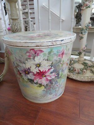 FABULOUS Large Vintage LIDDED BUCKET STORAGE CONTAINER HP Pink White Flowers