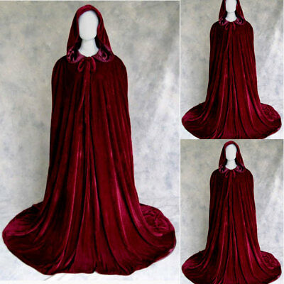 Wine Red Velvet Hooded Cloak Wedding cape Halloween Wicca Medieval Robe Coat
