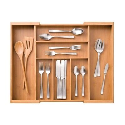 Seville Classics Bamboo Expandable 7 Compartment, 2 Adjustable, Flatware Utensil