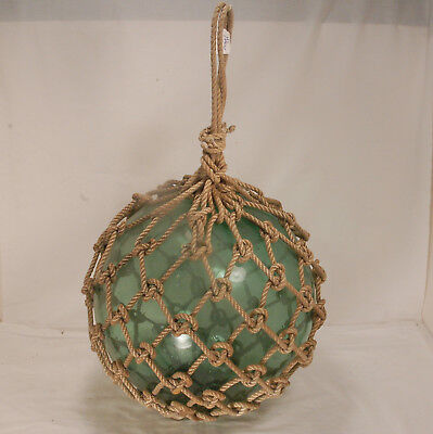 Vintage Large (40 inch circumference) Green Glass Ball Fishing Float-Roped