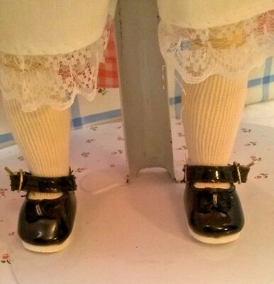 """VINTAGE NOS BLACK MARY JANE BUCKLE ON SHOES WHITE SOCKS fit 11-12"""" BLEUETTE DOLL"""