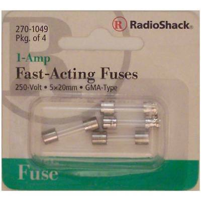 Fast-Acting 1-Amp 250 Volt GMA-Type Glass Fuses 5x20mm 1A 250V 4/PK