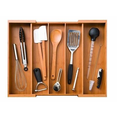 Seville Classics Bamboo Expandable Cutlery Drawer Tray Organizer with 5 Large