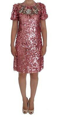 NEW $4900 DOLCE & GABBANA Dress Pink Sequined Crystal Shift Runway IT40 / US6/ S