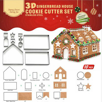 3D Gingerbread House Christmas Cake Cookie Cutters Biscuit Mold Fondant Tool Top