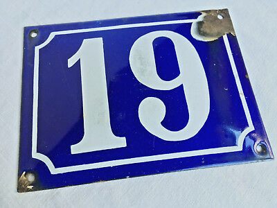 "Authentic c1900 Antique French Enamel House Number Plaque - Domed Type.  ""19"""