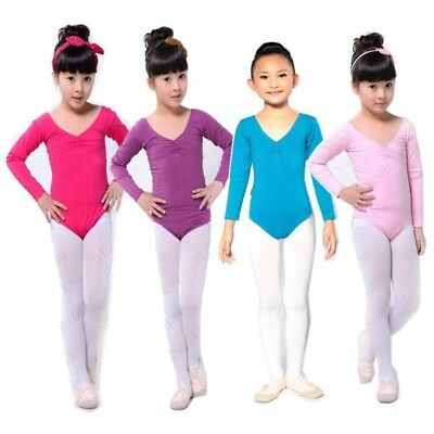 Kids Cotton Long Sleeve Leotard Girls Ballet Dance Gymnastics Leotard Dancewear