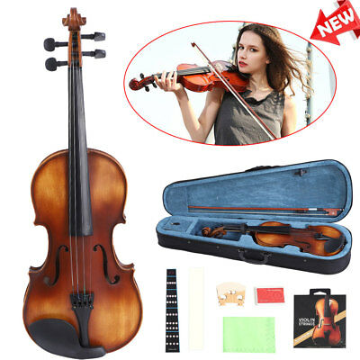 US Full Size 4/4 Violin Handed Natural Acoustic Fiddle with case Bow Tangerine