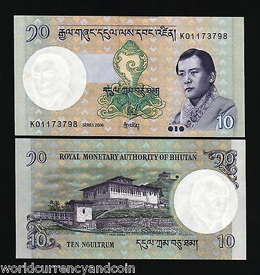 Bhutan 10 Ngultrum P29 2006 King Jigme Unc Attractive Money Bill Asian Bank Note