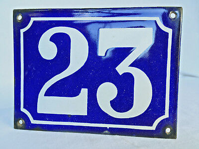 "Authentic c1900 Antique French Enamel House Number Plaque - Domed Type.  ""23"""