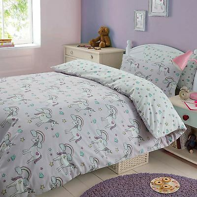 Magic Unicorns Single Duvet Cover Set Kids Childrens Bedding - 2 Designs In 1