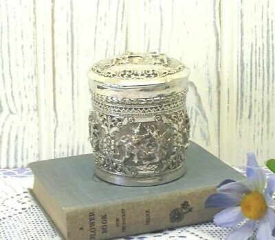 Antique repoussé solid silver Burmese betel box or tea caddy. Engraved, R. Hoare