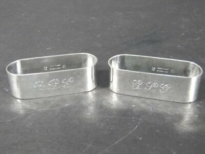 2 Vintage Arts & Crafts Hand Made Carl Poul Petersen Sterling NAPKIN RING x2