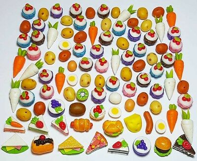 100 Dollhouse Miniature Mixed Food Set * Doll Mini Cakes Cupcakes Bakery Veg z14