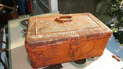 Early 1900s Original Strong Box Metal Heavy Crackle Stagecoach Vintage Safe