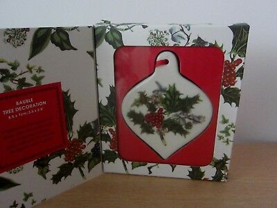 Portmeirion Holly & Ivy Bauble Christmas Tree Decoration - Bnib
