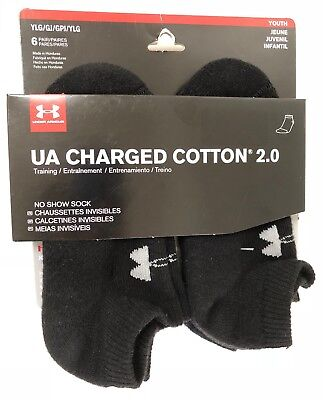 NWT 5.5 Pairs UNDER ARMOUR Boys Charge Cotton 2.0 No Show Socks BLK YLG Shoe 1-4